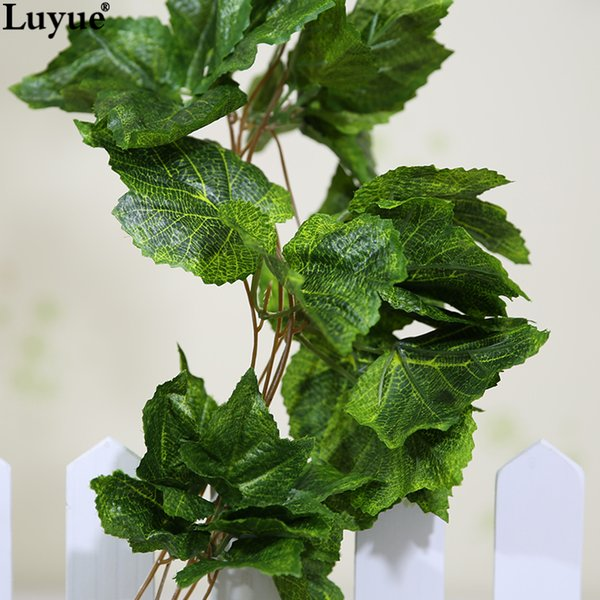 Wedding Luyue 10pcs Artificial Silk Grape Leaf Garland Faux Vine Ivy Indoor /Outdoor Home Decor Wedding Flower Green Leaves Christmas