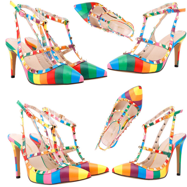 Women 8/11cm High Heels rainbow Pointed Toe Rivets Party High Heel Shoes Ladies T Strap Cross Strap Evening Pumps US 4-11 D0235