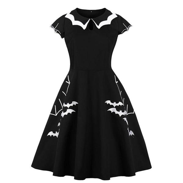 Cadılar bayramı Kostüm Artı Boyutu Yarasa Nakış Elbise Kadın Punk Parti Elbiseler Ilmek Kendini Gotik Elbise Giyim Salıncak