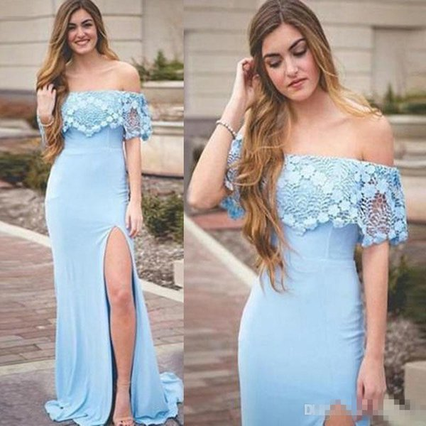 Charming Blue Lace Off Shoulder Mermaid Prom Dresses Sexy Bost Neckline Side Split Evening Party Dress Prom Wear Special Gowns For Custom