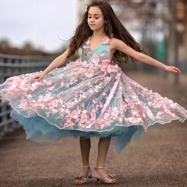 Pink 3D-Floral Flower Girl Dress V-Neck Beaded Sleeveless Handmade Flower Birthday Gown Fabulous Sea-Green Tulle Fluffy Girls Pageant Dress