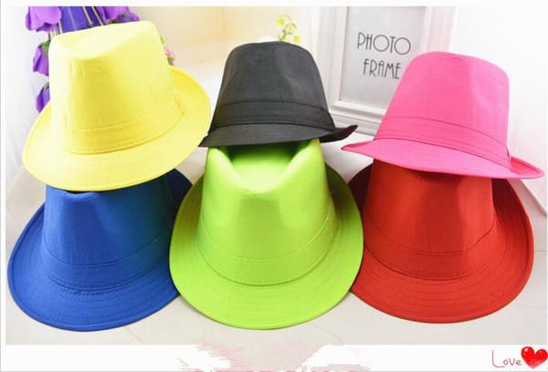 Unisex mulheres homens chapéus de algodão panamá fedora mesquinha brim chapéus 7 cores brilho clube festa hip-hop jazz dança chapéu caps