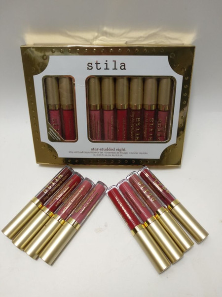 In stock Stila Star-studded Eight Stay All Days Lip Gloss set 8pcs/set Long Lasting Creamy Shimmer Liquid Lipstick Free shipping DHL