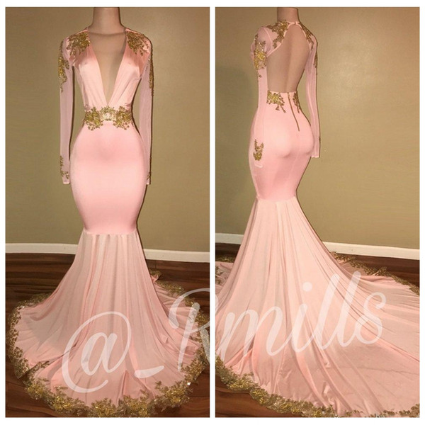 2018 Deep V-Neck Slim Pink Prom Dresses Mermaid Sexy Sheer Long Sleeves Gold Appliques Backless Sweep Train Evening Party Gowns
