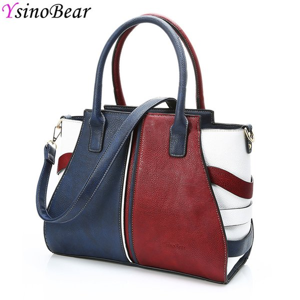 Women's Large Casual Bag Patchwork Tote Bag Women's Handbags 2018 High Quality Leather Classic Ladies Shoulder Bags