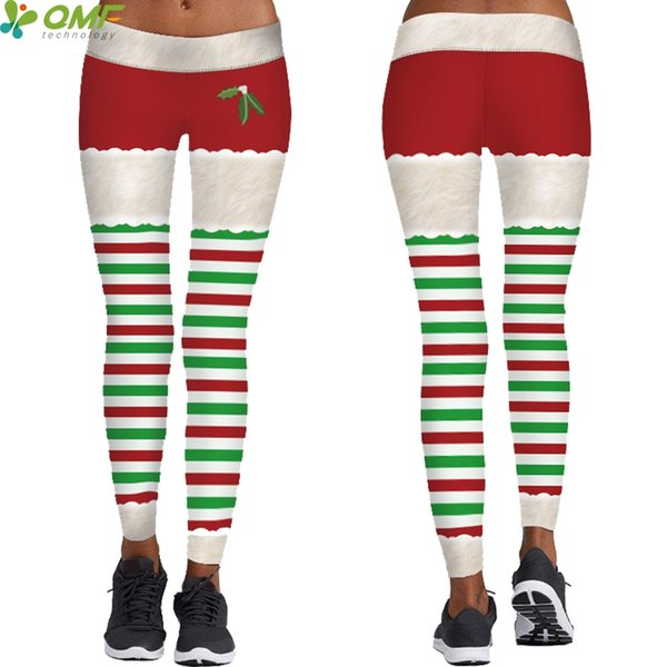 Christmas Running Leggings.2019 Christmas Stripes Yoga Leggings Fitness Jogging Skinny Tights Santa Elf Running Pencil Trousers Stretchy Tayt Pants For Women From Brandun