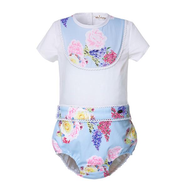 Pettigirl Çocuklar Giysi Tasarımcısı Kızlar Yaz Çiçek Pamuk Pantolon Çocuk Takım Elbise Butik Bebek Bebek Erkek Giysileri Set B-DMCS105-B264