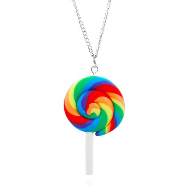Neuer Regenbogen-Strudel-Lutscher-Halsketten-Art- und Weisehängender Halsketten-Süßigkeit-Kostüm-Halloween-Weihnachtsmodische Art-Frauen-Schmucksachen geben Verschiffen frei