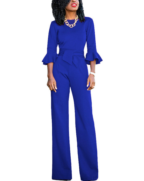 Sexy Tracksuit for Women Jumpsuit O-Neck Flare Half Sleeves Belt Wide Legs Pants Solid Elegant Casual Romper Overalls female