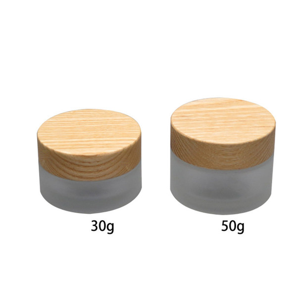 30g/50g 10pcs / lot frosting glass cream box ,cosmetics packing jar with bamboo willow lid Storage Bottles fast shipping