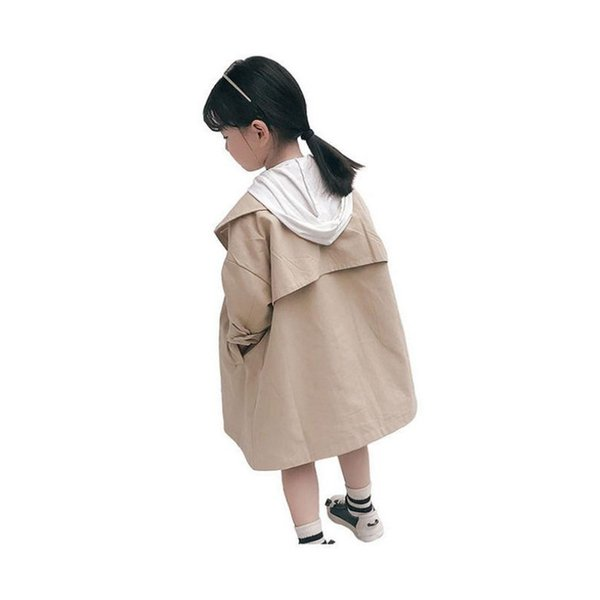 DFXD England Style Kids Girls Khaki Cotton Long Sleeve Double-breasted Trench Coat New Autumn Girls Fashion Outwear 2-8Years