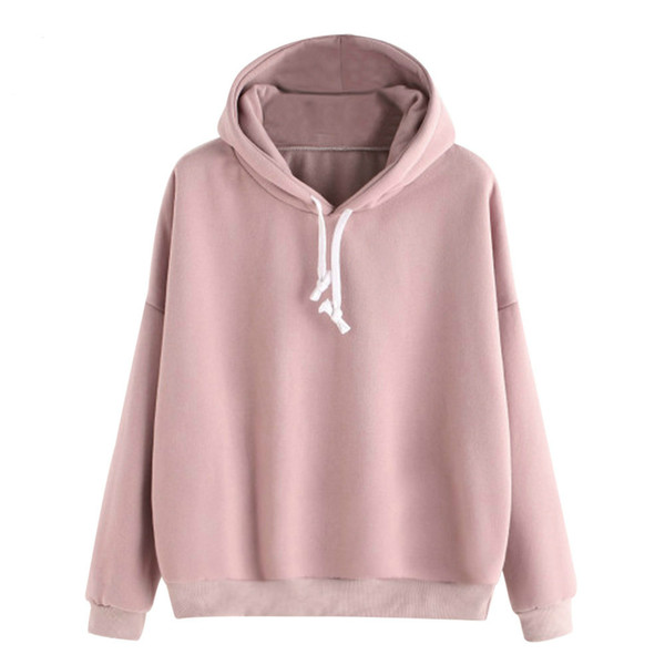 2018 Pink women's Gown With A Hood Hoodies Ladies Solid Long Sleeve Casual Hooded Harajuku Clothes Autumn Sweatshirts For Women