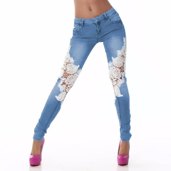 2017 Fashion Ripped Women Jeans Ladies Lace Floral Splice High Waist Jeans Hollow Out Casual Women's Denim Sexy Pencil Pants