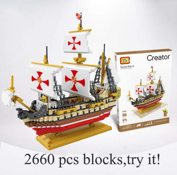 2019 Diamond Blocks Santa Maria Ship Model Boat Blocks Building Assembly  Sailboat Bricks Educational Toys For Boys Children From Angelahome2, $37 15  |