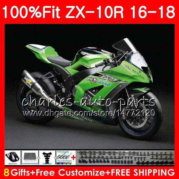 Injection For KAWASAKI NINJA ZX 10 R 1000 Green ZX 10R ZX10R 16 17 18 99HM   29 ZX1000 Factory Green 1000CC ZX 10R 2016 2017 2018 Fairing Kit Racing
