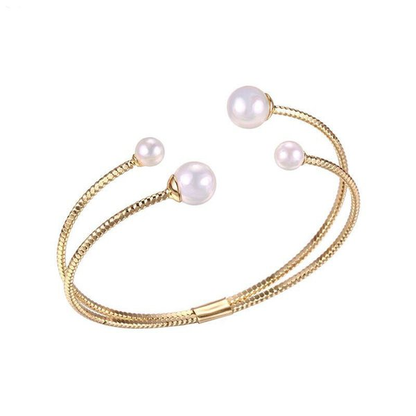 (92BA) Modeschmuck White Pearl Bangles (Openning) und Armbänder für Frauen 18k Gold Plated