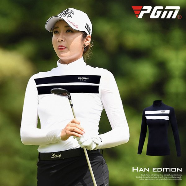 Pgm Women Golf T-Shirt Striped Slim Golf Clothing Female Sunscreen Long Sleeve Training Shirts Leisure Comfort Shirts S-XL D0490