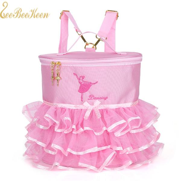 Rosa / gelb / rose Balletttasche für Mädchen Bestickte Balletttasche für Kinder doppelt verwendbare Rucksack Handtasche Leinwand für Frauen