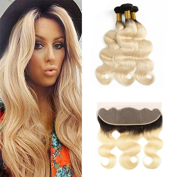 Honey Blonde Ombre Brazilian Remy Human Hair Wefts With Frontal Body Wave 1B/613# Blonde Lace Frontal Closure With Weave Bundles