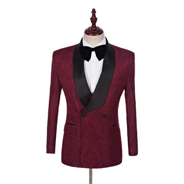 Yüksek Kalite Yakışıklı Şal Yaka Groomsmen Kruvaze Damat Smokin Erkek Takım Elbise Düğün / Balo / Akşam Yemeği Best Man Blazer (Ceket + Pantolon + Kravat)