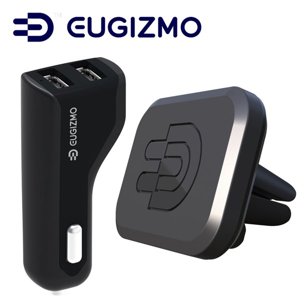 EUGIZMO Carro Ventilação Magnética Suporte Do Telefone Móvel de Montagem + Dual USB Carregador de Carro para o iPhone Samsung Xiaomi Telefones GPS PDA Tablets MP4