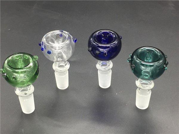 bol de tabac à fumer en verre pyrex épais avec 14mm 18mm mâle vert bleu verre sec herbe tabac bols pour eau huile rig pipes pipes bong