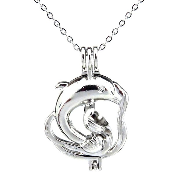Silver Ocean Animal Large Dolphin Hollow Oil Diffuser Locket Women Aromatherapy Beads Pearl Oyster Cage Necklace Pendant-Boutique gift