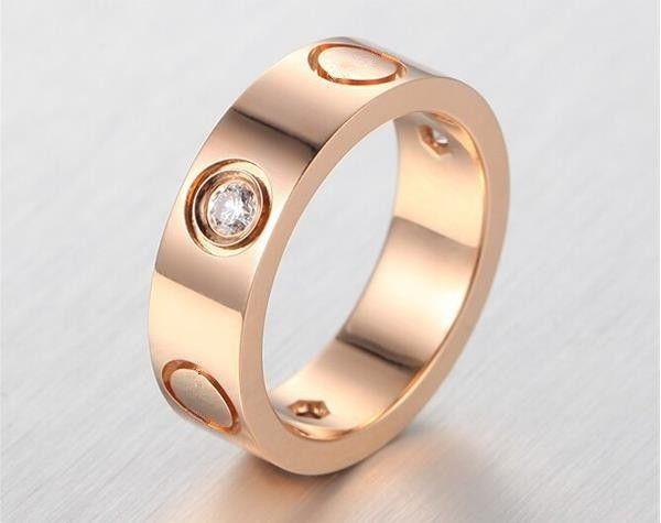 Hot sell 6mm famous brand logo inside love rings for women men Titanium Stainless Steel lovers Wedding jewelry