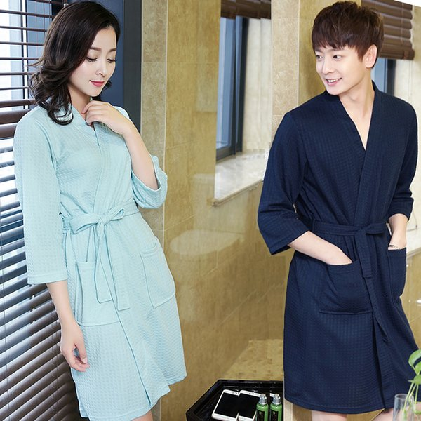 Hot Sale Lovers Summer Cotton Suck Sweat Towel Bath Robe Plus Size Men Sexy Kimono Bathrobe Mens Dressing Gown Male Waffle Robes