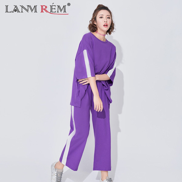[IASK] 2018 new summer suit fashion tide round collar half sleeve patchwork color top+Ankle-Length Pants loose korean set women