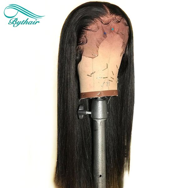 Bythair Full Lace Human Hair Wig Silky Straight Pre-plucked Hairline Brazilian Virgin Hair Lace Front Wig 150% Density With Baby Hair