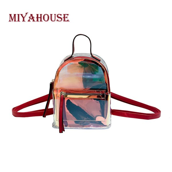 wholesale Fashion Mini Backpacks Women Transparent Laser Backpack Small Casual Shoulder Bags Female Jelly Rucksacks Hit Color