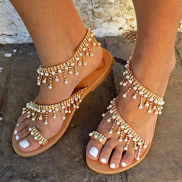 Buzzyfuzzy 2018 nueva moda vintage mujer cuero abalorios sandalias planas mujeres Bohimia playa sandalias zapatos