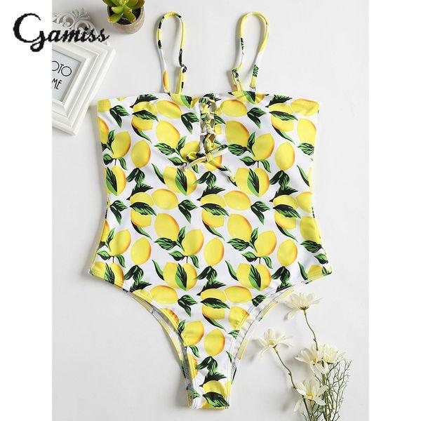 wholesale Lemon Print Spaghetti Strap High Cut One Piece Swimsuit Swimwear Women Summer Beachwear Bodysuit Brazilian Monokini Femme