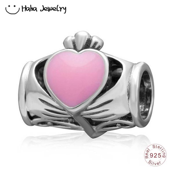 Haha Jewelry Hand Holding Love Heart Charm Real 925 Sterling Silver Bead Valentine's Day Gift for Pandora Charms Bracelet Making