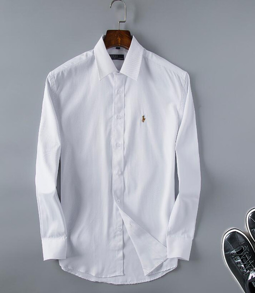 New pure color shirts, men's Casual Shirts, business super invincible handsome sleeves, long sleeved shirt size S-XXXL-21
