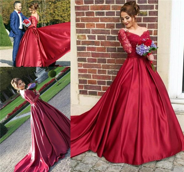Burgundy Fancy Prom Dresses Lace Appliques 2K18 Beaded Long Sleeves Sexy Button Back A-line Reception Party Dresses