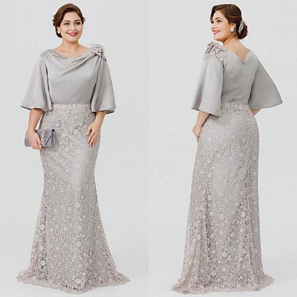 Elegant Plus Size Mother Bride Dresses 2019 Latest Bateau Neck Mermaid Half  Length Bell Sleeve Silver Formal Dresses For Mother Of The Bride ...