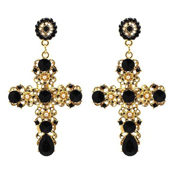 2019 New Arrival Vintage Black Crystal Cross Drop Earrings for Women Pink Baroque Bohemian Large Long Earrings Jewelry