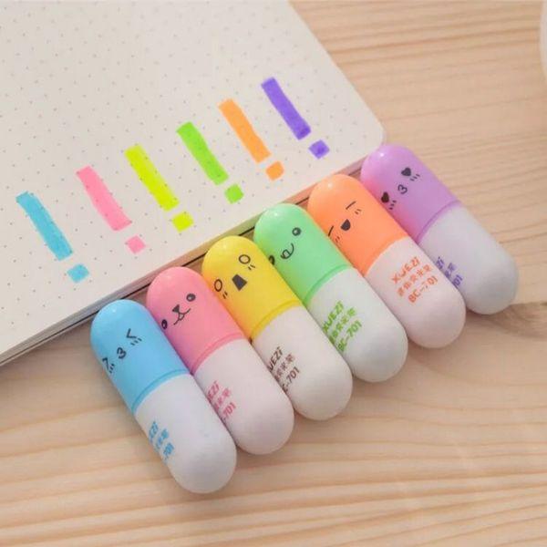 6 pcs/set Mini shaped highlighter pens for writing Cute face Graffiti marker pen Korean stationery school office supplies