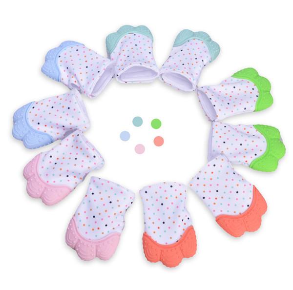 5 colores de silicona mordedor bebé chupete guante bebé dentición guante recién nacido enfermería mitones mordedor masticables perlas de enfermería para bebé infantil B001