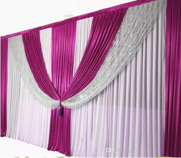 10ftX20ft Fondo de boda Cortinas de lentejuelas de plata Fondo de la boda Escena de seda de hielo Decorativo Cortina Decoations boda suministros