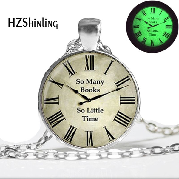 GL-00156 Clock (So many books, so little time) Pendant, vintage clock necklace glass pendant for women, art photo Glowing Necklace