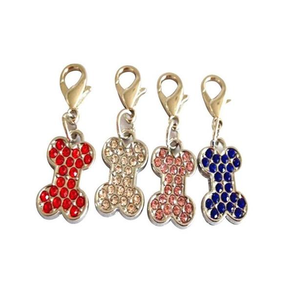 Fashion New Arrival Mini Charms With Hooks Decoration Lobster Buckle Dog Collars Rhinestone Bone Shape Puppy Pendant High Quality 1 4cz aa