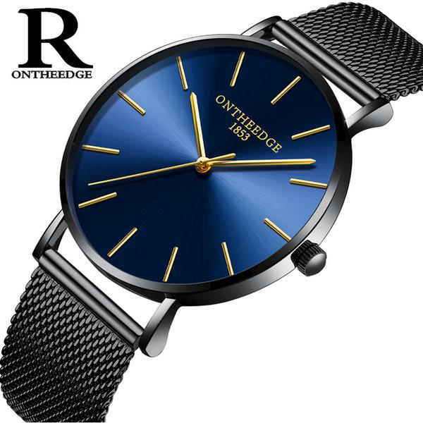 Fashion Ultra-thin Couple Wristwatches Stainless Steel Mesh Belt Quartz Wrist Watch 30m Waterproof Men's Women's Watches Gift