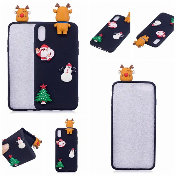 For Iphone XR XS MAX X 8 7 6 5 SE Galaxy Note 9 S9 Plus S8 3D Santa Claus Soft Silicone Case Christmas Sock Tree Elk Snow Snowman Gift Cover