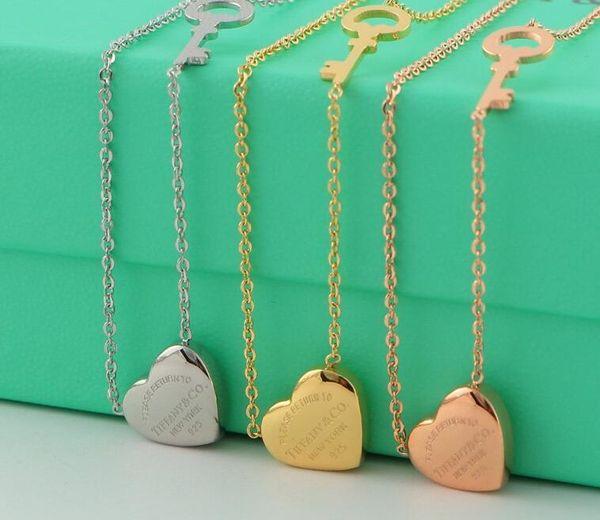Ciondolo in acciaio di titanio di marca famosa di alta qualità 316L Collana di cuore con smalto a forma di cuore in 3 colori gioielli di moda con scatola di logo