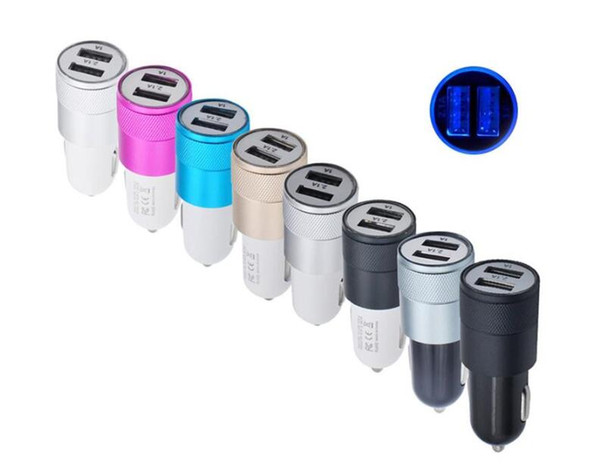 best selling USB car charger with 12 Volt 1-2 Amp metal dual USB car charger 2 USB Car adpter for iPhone Samsung Galaxy Android HTC
