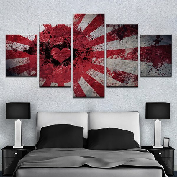 Home Decor Pictures Living Room Wall Art Frame HD Prints Canvas 5 Pieces Abstract Love Heart Flag Painting Modular Poster