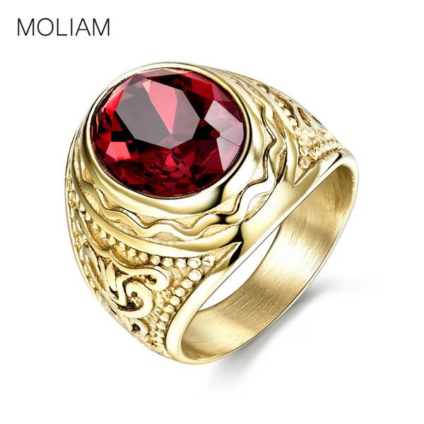 MOLIAM Retro Gothic Cool Männlich Ringe mit Rotem Stein Edelstahl Ring Für Männer Modeschmuck MLBR162